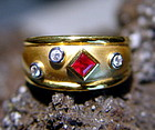 18K. Solid Gold Ring with Ruby & Diamonds