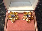 Yellow and Blue Ceylon Sapphire Earrings in 18K. Gold