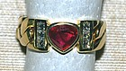 18K. Gold Link Ring with Heart shaped Ruby and Diamonds