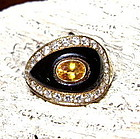 Solid 18K Gold Ring with Yellow Sapphire-Diamonds-Onyx