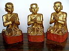 Matching Set of 3 Gilt Wooden Disciples in Adoration