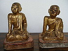 Matching Pair of Hand Carved gilt Wooden Disciples