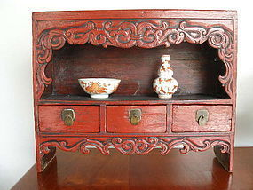 QING Cinnabar Red Hand Carved Wooden Display Stand