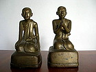 Pair of Mandalay Monks/Disciples, Bronze, 19th Century