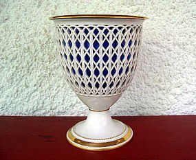 BERLIN KPM Reticulated 2-Piece Porcelain Basket Vase