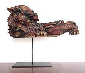 QING Hand Carved Polychrome Wooden Foo Dog-Lion