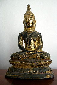 Thai Bronze Buddha Dhyana Mudra/in deep meditation pose