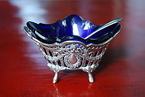 19th Cent. Silver Salt Cellar / Cobalt Blue Glass Liner