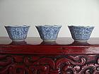 3 Matching KANGXI or YONGZHENG Porcelain Wine Cups