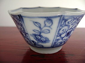 KANGXI Octagonal Blue&White Porcelain Wine/Liquor Cup