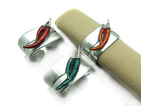Pewter Napkin Ring with 2 Enamel Chilies (red or green)