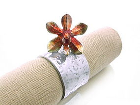 Pewter Napkin Ring with colorful Orchid Blossom