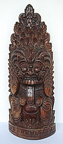 Stupendous Old Balinese Ebony Carving of Rangda, 1939