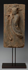 Very Rare SONG DYNASTY Terracotta Panel Flute Player