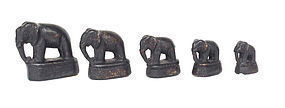 Set of graduated Burmese Bronze Elephant Opium Weights