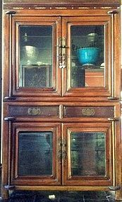 Chinese 2-Piece Display Cabinet with inlay work, 19th C