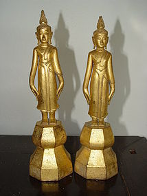 Rare Pair 19th Century Thai Buddhas