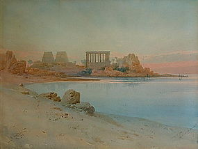 "Original Painting by A, LAMPLOUGH ""PHILAE, EGYPT"""