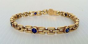 Solid 18K. GOLD Link Bracelet with Blue Sapphires