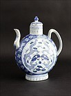 QIANLONG BLUE & WHITE EWER WITH DRAGONS