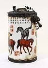 CHINESE PORCELAIN OPIUM LAMP WITH COLORFUL HORSES
