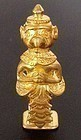 22K. GOLD ANCIENT KHMER STANDING MINIATURE GARUDA