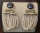 Sophisticated Baby Dangling Pearl Earrings with Sapphires & Diamonds