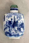 QING DYNASTY BLUE & WHITE SNUFF BOTTLE WITH MARKINGS