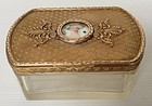 ANTIQUE FRENCH ETCHED JEWELRY BOX WITH BRONZE TOP & MEDALLION