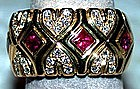 Modern 18K White/Yellow Gold Ruby/Brilliant Ring
