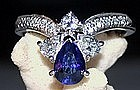 Solid 18K White Gold Ring with Blue Sapphire/Diamonds