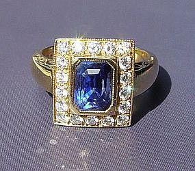 Genuine Ceylon Blue Sapphire/Diamond Ring 18K