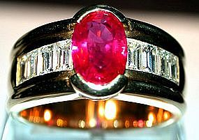 Rare Genuine Burma Ruby/Diamond 18K Ring