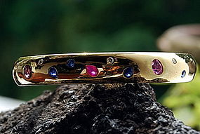 Genuine Blue Sapphire/Diamond/Ruby Bangle, 18K Gold