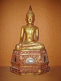 Gilt Lanna Thai Wooden Buddha, 19th Century