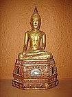 Gilt Lanna Thai Wooden Buddha, 19th Century