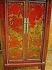 Chinese Red Cinnabar Qing Cabinet with Gold Painting