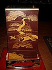 Jubako Japanese Gold Lacquer 5-Tiered Box with Base