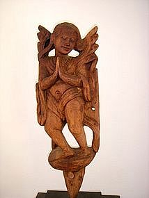Burmese hand carved Wooden Angel on stand, 19th Cent.