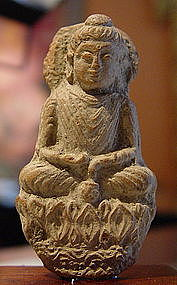 Kushan Terracota Votive Buddha, 2-4th Cent. AD.