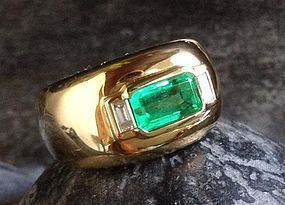 Important Octagonal Emerald/Diamond Ring 18K.