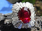 Pigeon-Blood Ruby/Diamond Ballerina Ring 18 K White G.