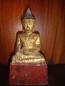 Serene Gilt Wooden Buddha, Lanna Thai, 19th Century