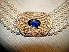 4 -Strand Pearl/Sapphire/Pave Diamond Necklace 18K Gold