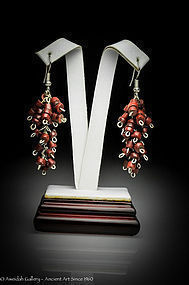 Ancient Roman red stone beads earrings, 100 AD