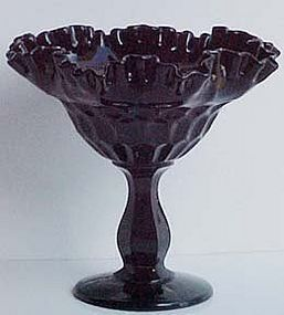Fenton Black Thumbprint Compote