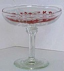 Tiffin Red Encrusted Compote, Oneida Etching