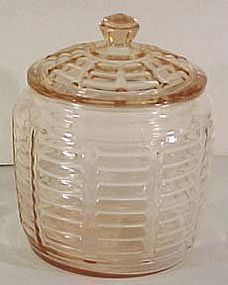 Hocking Pink Paneled Rib Cookie Jar