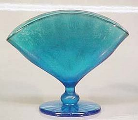 Fenton Stengel Blue Stretched Fan Vase