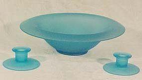 Tiffin Blue Satin Console Set